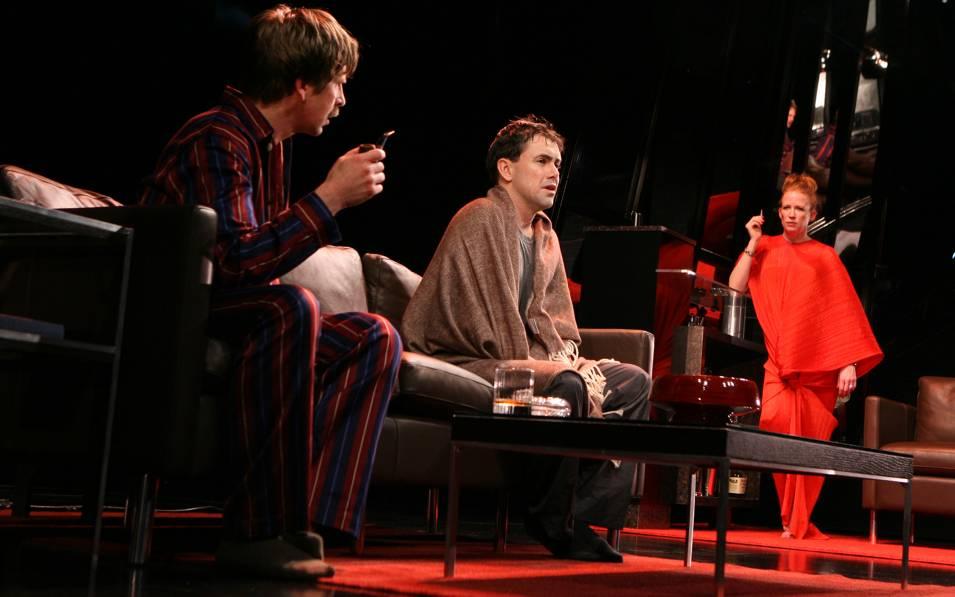 Stephen Barker Turner, Matt McGrath, and Johanna Day in THE EVILDOERS. Photo © Joan Marcus, 2008.