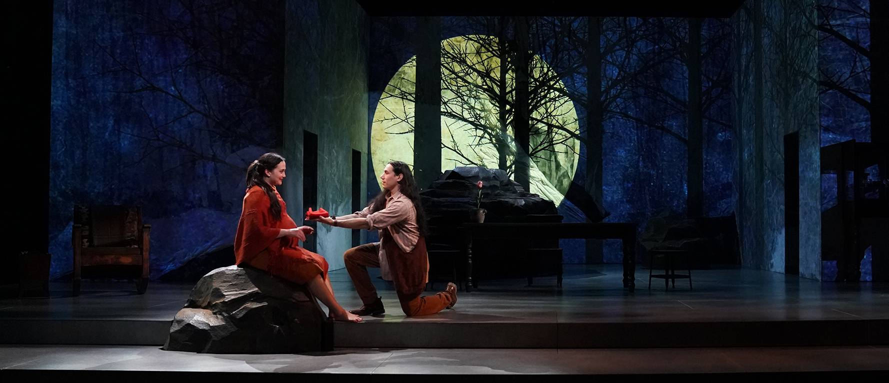 A scene from MANAHATTA by Mary Kathryn Nagle, directed by Laurie Woolery, Yale Repertory Theatre, 2020. Photo by Joan Marcus.