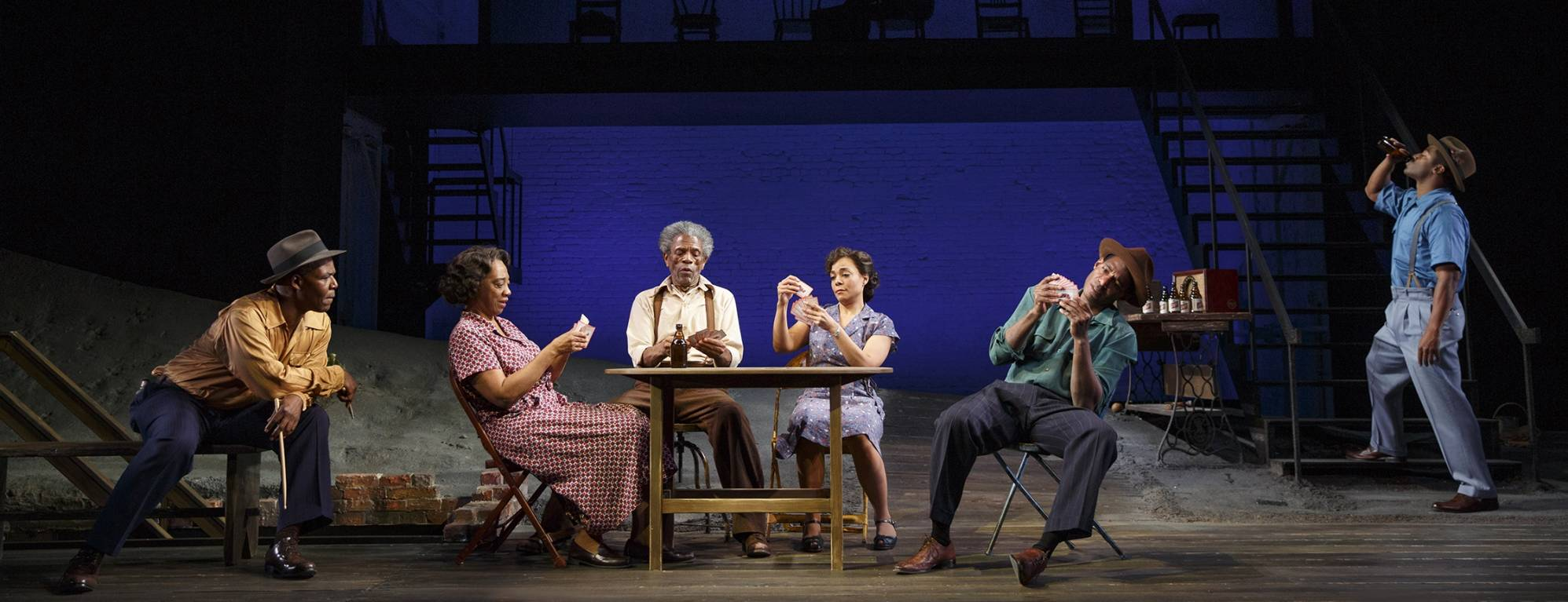 Danny Johnson, Stephanie Berry, André De Shields, Rachel Leslie, Billy Eugene Jones, and Wayne T. Carr in August Wilson's Seven Guitars, directed by Timothy Douglas. Photo by Joan Marcus 2016.