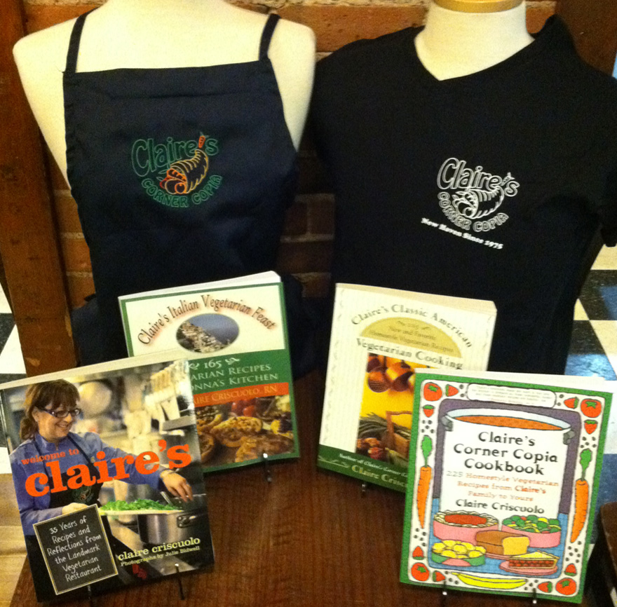 Books and merchandise such as shirts by Claire Criscuolo